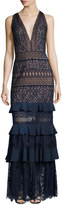 Tadashi Shoji V-Neck Embroidered Lace Column Gown w/ Ruffled Skirt