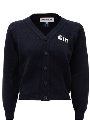Comme des Garcons Girl-print Cardigan - Womens - Navy