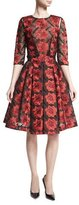 Zac Posen Floral 3/4-Sleeve A-Line Dress, Poppy/Black