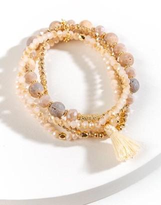 francesca's Karlie Beaded Stretch Bracelet Set - Pale Pink