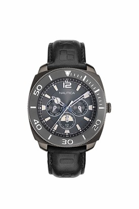 Nautica Men's NAPBHS903 Bal Harbour Black/Gunmetal Leather Strap Watch