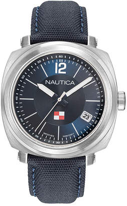 Nautica Men NAPPGP901 Park Gate Navy Leather Strap Watch Box Set + Red Leather Strap