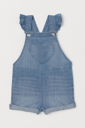 H&M Ruffle-trimmed Overall Shorts - Blue
