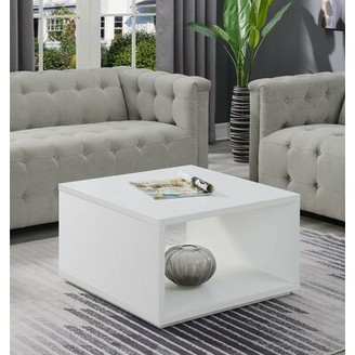 Wrought StudioTM Haught Floor Shelf Coffee Table with Storage Wrought Studio Color: White