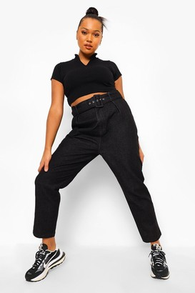 boohoo Plus Self Fabric Belted Jean