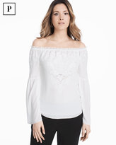 White House Black Market Petite Off-the-Shoulder Embroidered Blouse