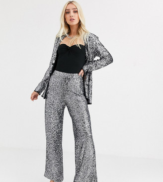 UNIQUE21 wide leg tuxedo trousers in sequin with contrast side seam co-ord-Silver
