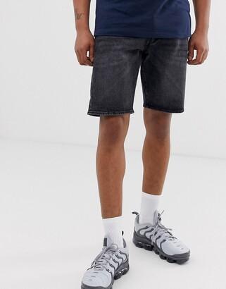Levi's 501 regular fit hemmed denim shorts in plenty short dark wash-Blue