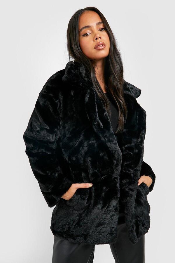 1b4ac8d5c53 Petite Oversized Collar Luxe Faux Fur Coat