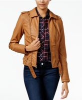 Celebrity Pink Juniors' Faux-Leather Zipper-Trim Jacket