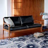"west elm Mathias Mid-Century Wood Frame Leather Loveseat (66"")"
