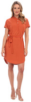 DKNY DKNYC Rolled S/S Half Placket Dress w/ Self Belt and Knit Back