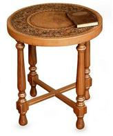 Mohena wood and leather table, 'Colonial Light'