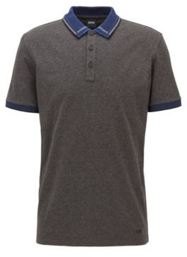 Cotton-jersey polo shirt with checked jacquard collar