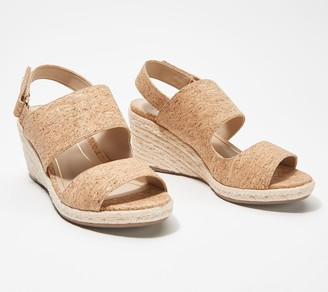 Vionic Leather or Cork Backstrap Espadrille Wedges - Brooke