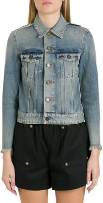 Saint Laurent Destroyed Jacket In Rodeo Blue Denim