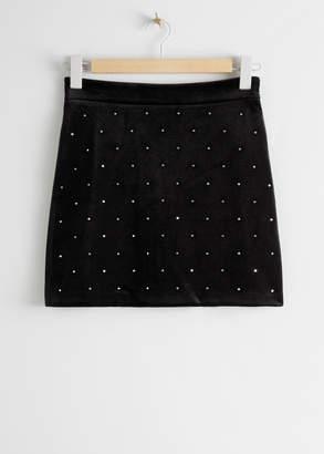 And other stories Rhinestone Dotted Velvet Mini Skirt