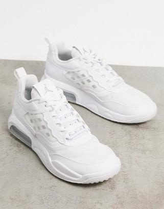Jordan Nike Air Max 200 trainers in white/metallic silver