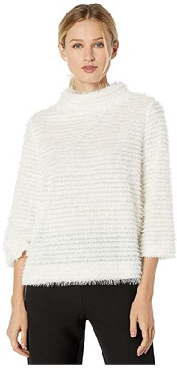 Vince Camuto Elbow Sleeve Eyelash Stripe Top (Pearl Ivory) Women's Sweater