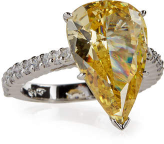 FANTASIA Large Pear-Cut Crystal Ring, Yellow, Size 8