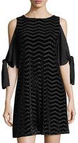 Taylor Burnout-Velvet Cold-Shoulder Dress