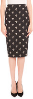 Victoria Beckham Floral-Print Pencil Skirt, Black/Cream/Gold