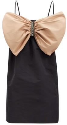 No.21 No. 21 - Crystal-embellished Bow Faille Mini Dress - Black Beige
