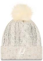 New Era Women's Cream San Antonio Spurs Fuzzy Cuffed Knit Hat with Pom