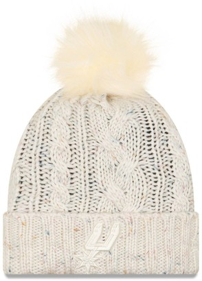 New Era Women's Cream San Antonio Spurs Fuzzy Cuffed Knit Hat with Pom
