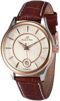 K&S KS KS263 Men's Automatic Mechanical Watch Analog Date Display Brown Leather Band