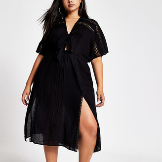 River Island Plus black short sleeve kimono dress