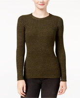 It's Our Time Hooked Up by IOT Juniors' Marled Zip-Back Rib-Knit Sweater