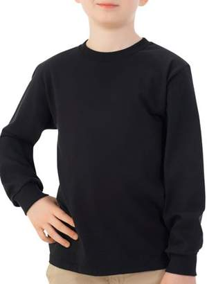Fruit of the Loom Boys 4-18 Long Sleeve Crew Neck T-Shirt with Rib Cuffs