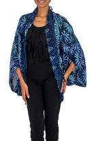 Navy Blue Print Rayon Batik Open Front Jacket for Women, 'Denpasar Lady in Navy'