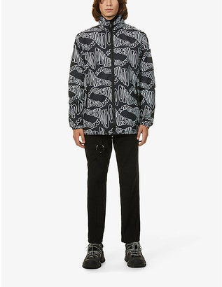 Moschino Brand-print hooded shell jacket