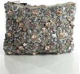 Christopher Kane NWT Beige Beaded Flower Embellished Small Clutch Handbag RHB3/4