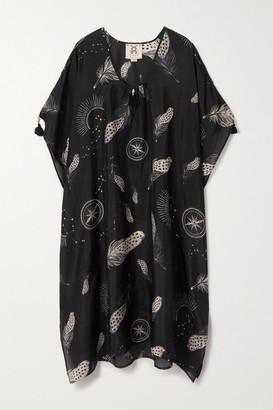 Figue Amelie Draped Printed Silk Crepe De Chine Kaftan - Black