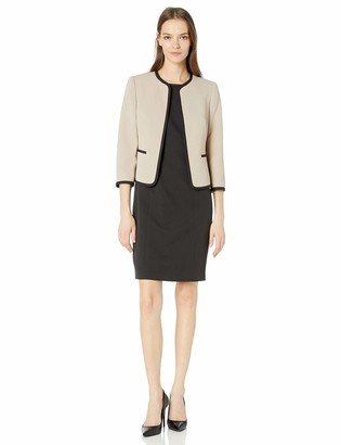 Le Suit LeSuit Women's Jacquard Piped Open Front Jacket and Dress