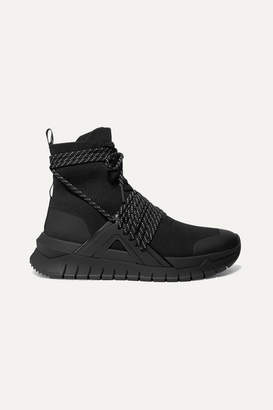 Balmain Troop Stretch-knit And Leather High-top Sneakers - Black