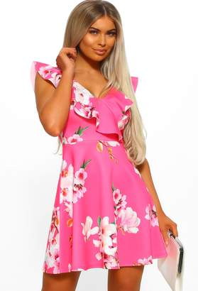 Pink Boutique Hampton's Party Pink Floral Frill Skater Dress