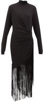 Rhode Resort Noel High-neck Fringed Jersey Maxi Dress - Womens - Black
