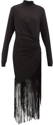 Rhode Resort Noel High-neck Fringed Jersey Maxi Dress - Womens - Black