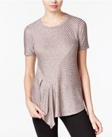 Bar III Metallic Asymmetrical Knit Top, Only at Macy's