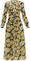 Miu Miu Rose-print Crystal-embellished Georgette Dress - Womens - Black Multi