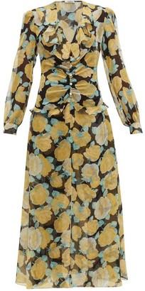 Miu Miu Rose-print Crystal-embellished Georgette Dress - Black Multi