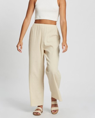 Atmos & Here Atmos&Here - Women's Neutrals Pants - Khloe Cotton Resort Pants - Size 12 at The Iconic