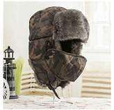 Holyhigh Men & Women Unisex Trapper Trooper Aviator Ski Hat Earflap Warm Winter Outdoor Caps With Mask - Camouflage
