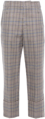 Brunello Cucinelli Cropped Prince Of Wales Checked Wool And Cotton-blend Tapered Pants