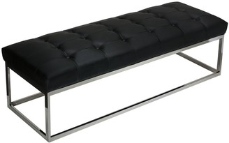Cortesi Home Biago Black Contemporary Oversized Tufted Long Bench