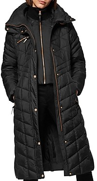 Andrew Marc Diamond-Quilted Lacquer Puffer Coat